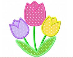 Lindos tulipanes Applique 4 x 4 5 x 7 6 x por CherryStitchDesign
