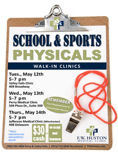 Walk-In Clinics for School and Sports Physicals Evening Walk-In Physical Clinics start tonight! 5-7 pm Valley Falls May 12th Perry May 13th Winchester May 14th ‪#‎MyHospital‬ ‪#‎HospitalWeek‬ #‎KansasHospitals‬