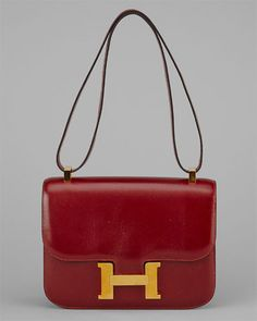 Hermes Rouge Box Leather Constance GHW