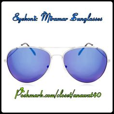 EyeKonic Miramar Sunglasses Classic Aviator Sunglasses these classic aviator design feature solid lenses and adjustable nose pads. Case is included.    Frame material: Metal /Lens Material: Plastic /Coating: 100% UV Protection/ Lens Dimension: Width-58mm, Height-14mm, Arm: 135mm. Color: Silver/Blue Mirror EyeKonic Accessories Sunglasses