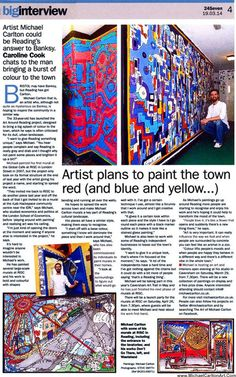Michael Carlton Art Around Reading Press Article Reading Projects, Town Names, Banksy, Red And Blue, Bring It On, How To Plan, Artist, Painting, Color