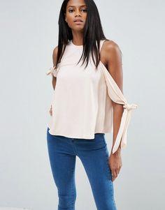 ASOS Cold Shoulder Top With Tie Sleeve - Pink
