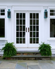 Farmhouse Porch Landscaping French Doors 34 Ideas For 2019 Shutters Exterior, Porch Landscaping, House With Porch, House Exterior, French Doors Exterior, Exterior Doors, French Doors With Screens, Building A Porch, Farmhouse Landscaping