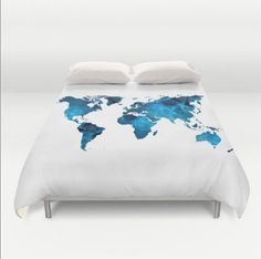 World map comforter decorative bedding world map bedding bedroom duvet cover world map blue white twin full queen king bedspread hipster bedding dorm room home gumiabroncs Gallery