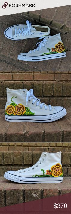 c1294062061 Converse High Tops Yellow Roses Original Art W 11 Awesome Yellow Roses  Original Hand Drawn Art