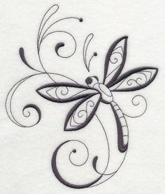 Inky Dragonfly and Swirls 2 design (M3947) from www.Emblibrary.com