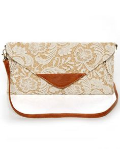 Lace, Lady, Lace Tan and Cream Lace Clutch