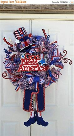 Summer Sale XL Uncle Sam Wreath-Patriotic Wreath-4th of July Wreath-Memorial Day Wreath-Summer Holiday Wreath-Gift Idea-Ready to Ship Wreath