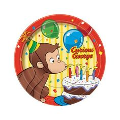 Featuring a colorful image of Curious George blowing out birthday candles against a background of confetti and balloons, these small paper plates are the perfect size for cake slices and party snacks and a fantastic addition to any Curious George Birthday Party. #StayCurious