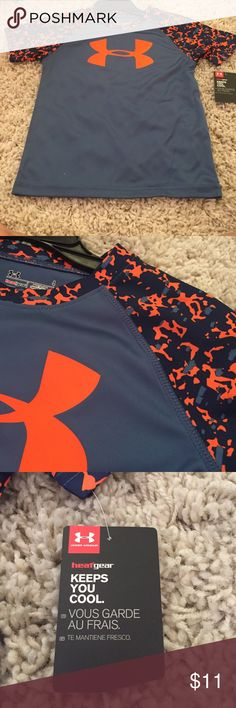 Under Armour neon orange & blue camo shirt boys 4 Boys size 4 short sleeve nwt under Armour shirt. Blue and orange. Original retail 21.99. New and flawless. Non smoking home. Pet free.  Bundle and save. Under Armour Shirts & Tops Tees - Short Sleeve