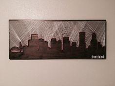 Portland, Oregon skyline - string art