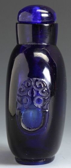Snuff Bottle; Glass, Cobalt Blue, Rounded Form, Foo Dog Handles, Signed, Stopper, 2.5 inch.