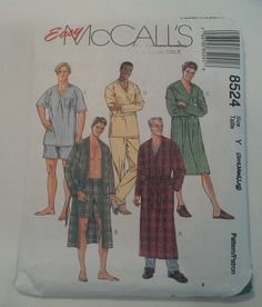 Pattern #8524. Size Y (S,M,L). Easy. Dated 1996.  Mens Sleepwear: Loose fitting wrap robe in two lengths features patch pockets and tie belt; pullover nightshirt and top have sleeve variations; pull-on pants and shorts have elastic at waist.  I can combine shipping on multiple purchases, combined shipping costs are based on actual weight. If you would like to get a quote for shipping multiple items please convo me!   Comes from a smoke free home.