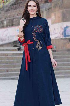 Blue Resham Embroidered Silk Designer Kurti-WKR1292