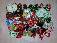 Christmas Bows made by Tisha for Bow Dazzling's 2014 goal.  Bow Dazzling delivers bows and headbands to hospitals for girls being treated for cancer and other serious medical conditions.  For more info, go to www.facebook.com/BowDazzling