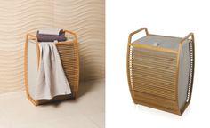 Wäschekorb Butterfly - Wäschetruhe -Wäschebehälter - Badezimmer - Schlafzimmer-Design - Deko Bambus und Canvas - heimatwerke