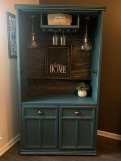 Sold Armoire Bar Cabinet Liquor Cabinet Buffet Teal with Refurbished Furniture, Bar Furniture, Cabinet Furniture, Repurposed Furniture, Furniture Makeover, Vintage Furniture, Painted Furniture, Etsy Furniture, Furniture Design