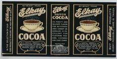 Vapor caliente de la década de 1930 tazas de cacao viejo tiempo Original puede etiquetar