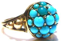9CT 9K GOLD ENGLISH NOUVEAU DECO PERSIAN TURQUOISE ESTATE RING BAND SIZE 6.5