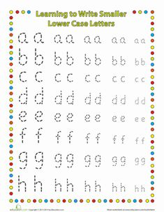 Kindergarten Fine Motor Skills Handwriting Worksheets: Small Letters: Lower Case