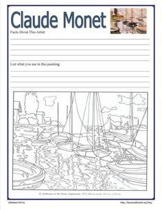 Monet Notebook Page printable from Harmony Fine Arts At Home #art