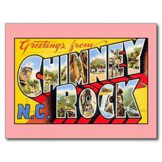 Vintage greetings from Chimney Rock North Carolina Postcards, greeting cards, fridge magnets
