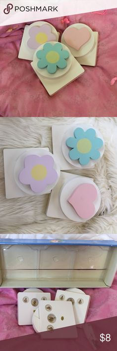 Baby infant quilt wall hangers in box w hardware Still in box, three cute wall quilt hangers. Perfect for little girl, infant or baby room. Pink, cream, lavender, butter yellow, baby teal blue. Hardware included. 🌸🌺🌼💜 linen n things  Other