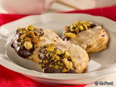 Chocolate- and Pistachio-Dipped Cranberry Shortbreads