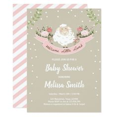 Lamb Baby Shower Invitation Girl Pink Spring - baby shower ideas party babies newborn gifts
