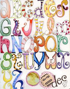 My first alphabet. I love the watercolor journal. Nice idea for class lesson to create letters, your name, etc.