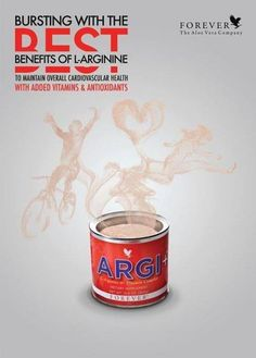 Argi+ :- For a great tasting, nutritional drink, mix a scoop of Argi+ in some water and pour into your sports bottle. It's packed full of vitamins, folate and an amino acid, important to the body, called L-Arginine.
