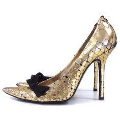 Chloe Gold Python Heels.