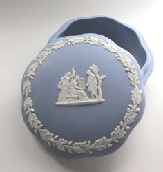 Vintage Jasperware Wedgwood Blue Covered Candy by MagpieSue, $10.00