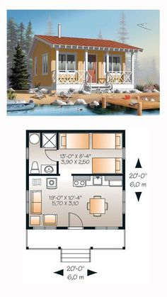 Tiny House Plan 76165 | Total Living Area: 400 sq. ft., 1 bedroom and 1 bathroom. Copyright by designer. #tinyhome #tinybathrooms