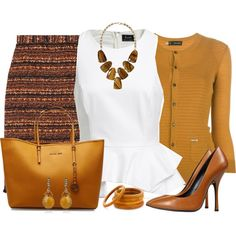 Pencil Skirt & Peplum Top, created by daiscat on Polyvore