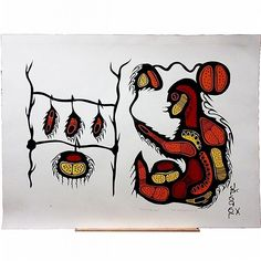 """JOSHIM (JOSH) KAKEGAMIC (NATIVE CANADIAN, 1952-1993), MOOSE; SMOKING THE MEAT, TWO LARGE COLOUR SCREEN PRINTS; EACH SIGNED, TITLED, NUMBERED 13/44 & 11/48 AND DATED '75 - Each sheet (32"""" x 42"""") BOTH UNFRAMED Woodlands School, Native Canadian, Number 13, Native American Fashion, First Nations, Native Americans, Nativity, Screen Printing, Smoking"""