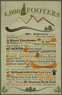 NH Footers Digital Typography Poster, New Hampshire, White Mountains Camping And Hiking, Hiking Gear, Camping Hacks, Backpacking Tips, Camping Store, Camping Gear, Nh 4, Hiking Training, Parenting Plan