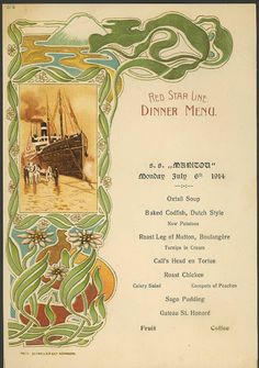 Red Star Line: oktober 1910 Vintage Menu, Vintage Travel, Vintage Posters, Retro Vintage, Retro Recipes, Vintage Recipes, Art Nouveau, Oxtail Soup, Celery Salad
