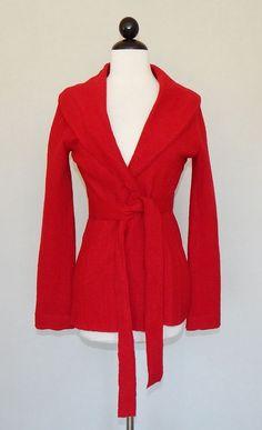 CABI Red Boiled Wool Knit Tie Belt Cardigan Sweater Jacket #167 - Size XS #CAbi #BasicJacket #Versatile