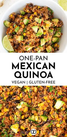 One-Pan Mexican Quinoa (Vegan, Gluten-Free) - Gathering Dreams - - This fail-proof one-pan Mexican quinoa is the perfect weeknight dinner recipe, ready in just 30 minutes. A flavorful recipe for Mexican food lovers! Mexican Food Recipes, Vegetarian Recipes, Cooking Recipes, Dairy Free Quinoa Recipes, Healthy Recipes With Quinoa, Muffin Recipes, Meals With Quinoa, Quinoa Dinner Recipes, Gastronomia