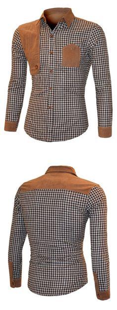 Suede Splicing Plaid Turn-Down Collar Long Sleeve Shirt For Men Cool Shirts, Casual Shirts, Shirts For Men, Shirt Men, Suit Fashion, Mens Fashion, Mens Designer Shirts, African Shirts, African Men Fashion