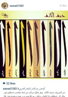 لكل خطاط ألفُه وإلفُه #الخط_العربي Calligraphy Alphabet Tutorial, Arabic Calligraphy Design, Persian Calligraphy, Arabic Calligraphy Art, Calligraphy Letters, Handwriting Styles, Teaching Art, Drawing, Typo
