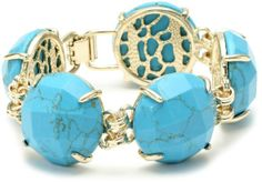"Amazon.com: Kendra Scott ""Signature"" Cassie Turquoise Link-Bracelet: Jewelry"