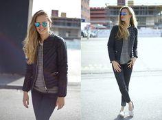 Mina T - H&M Mirrorglasses, Zara Silver Espadrilles, Sandro Quilted Jacket - Feels like New York City Sundays.