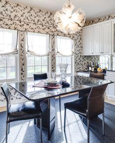 Marks and Frantz Interior Design   Elegant dining room design with black and white floral wallpaper