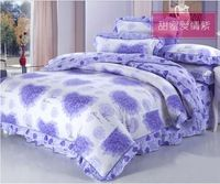 2013 Free Shipping Great Quality Blue Flouncing Heart-Shaped Rose Printed 3/4pcs Bedding Set/Duvet Cover/ Bed Skirt/ Pillowcase