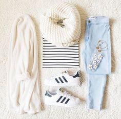 White scarf, white cardigan, striped black&white shirt, light blue jeans, adidas superstars
