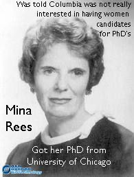 Mina Rees: mathematician, first female president of the American Association for the Advancement of Science and head of the mathematics department of the Office of Naval Research of the United States.