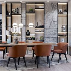 Contemporary interior on Behance Dining Room Design, Dining Area, Kitchen Design, Dining Tables, Shelf Design, Cabinet Design, Shelving Design, Contemporary Interior Design, Home Interior Design