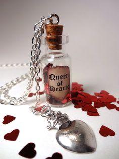 Queen of Hearts - Glass Bottle Cork Necklace - Alice in Wonderland - Red Queen. $18.00, via Etsy.